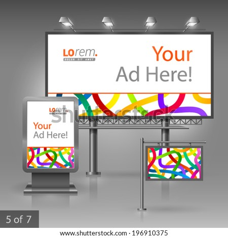 White outdoor advertising design for company with color tape.  - stock vector