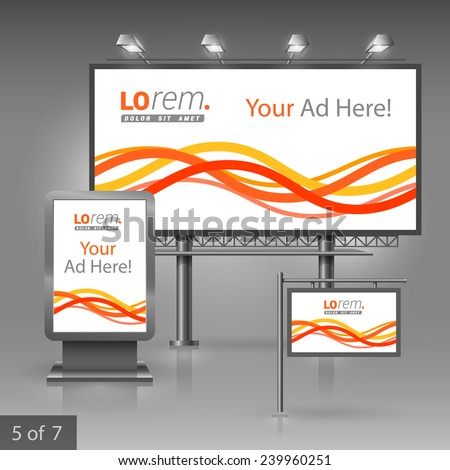 White outdoor advertising design for company with red and yellow waves and stripes. Elements of stationery. - stock vector