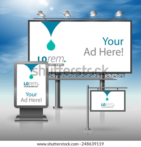 White outdoor advertising design for corporate identity with blue drop. Stationery set - stock vector