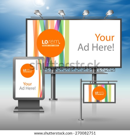White outdoor advertising design for corporate identity with color lines and orange shape. Stationery set - stock vector