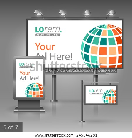 White outdoor advertising design for corporate identity with green digital globe. Stationery set - stock vector