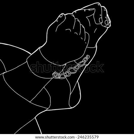White outline cartoon of man in shackles over black - stock vector