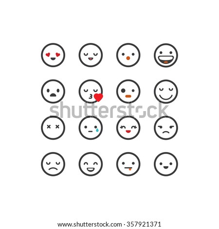 White outlined emoticon set - stock vector