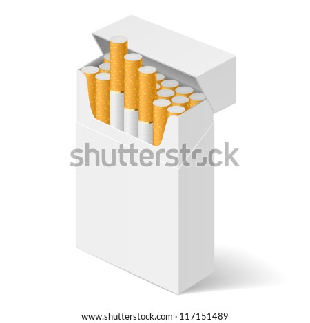 White Pack of cigarettes isolated on white background - stock vector