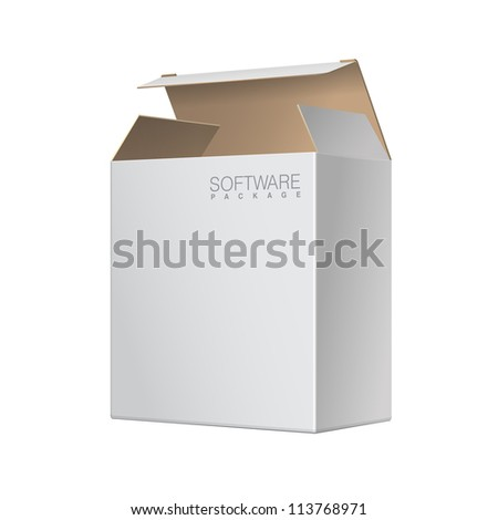 White Package Box Opened. For Software, electronic device and other products. Vector illustration - stock vector