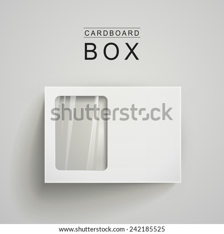 white package box with a transparent plastic window over grey background - stock vector