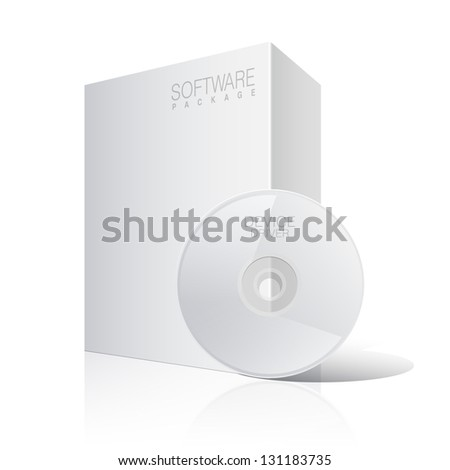 White Package Cardboard Box with DVD Or CD Disk. Vector illustration