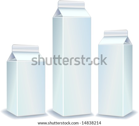 White packages for juice, milk, paper packing for products, store illustration