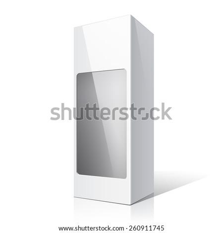 White packaging box for wine bottles. Vector illustration - stock vector