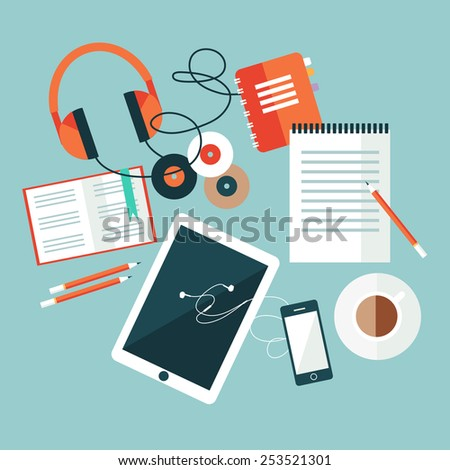 white pad, phone, photo on workplace flat vector stock - stock vector