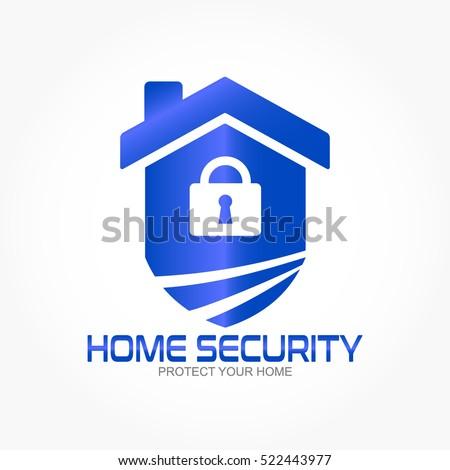 Shield House white padlock on gradient blue shield stock vector 522443977
