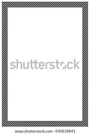 White page framed with thick plait border of black interlaced stripes. Vector pattern ornament around copy space.