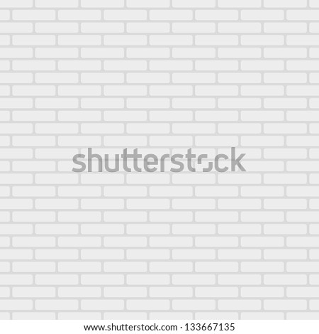 White painted brick wall pattern vector background - stock vector