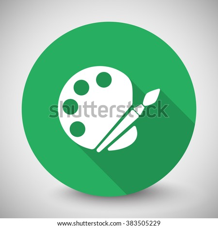 White Palette icon with long shadow on green circle