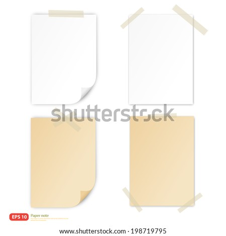 white paper and vintage paper with tape for note vector format - stock vector