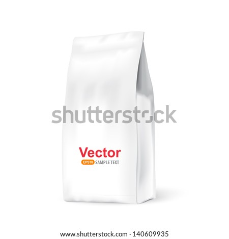 White paper bag for bulk products, tea, coffee, spices. Package prezantation your products. - stock vector