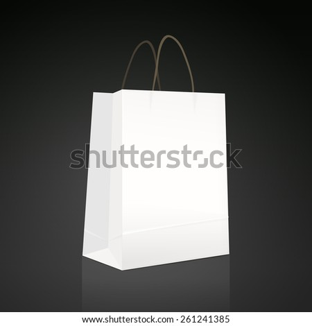 white paper bag isolated on black background - stock vector