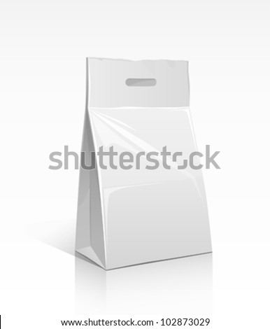 White paper bag. packaging in food. vector illustration - stock vector