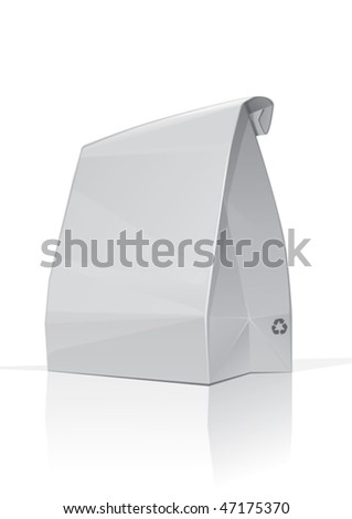 White paper bag, packed lunch for school or office - stock vector