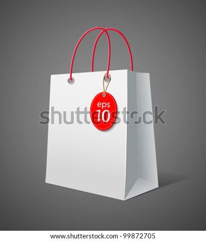 White paper bag. vector illustration - stock vector