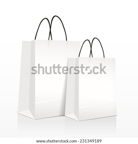 white paper bags set isolated on white background  - stock vector