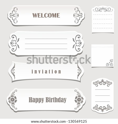 White paper banners with calligraphic elements. Vintage vector set. - stock vector