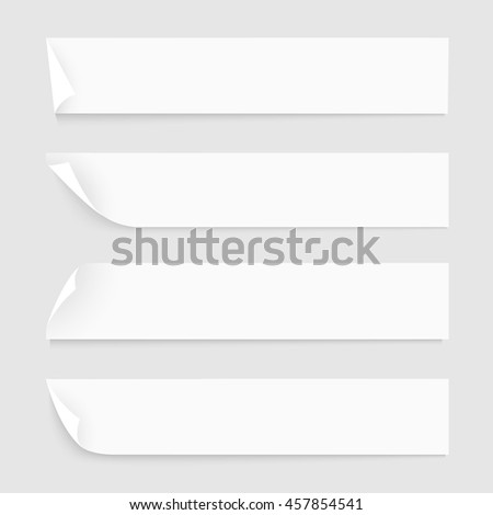 White Paper Banners with shadows. Vector collection of elements for design business or web background. Vector set
