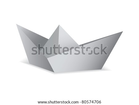White paper boat folded origami concept