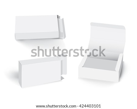 white paper box package collection isolate on white background