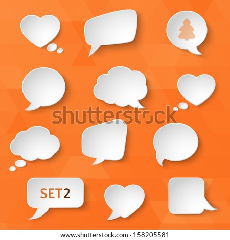 White paper bubbles for speech on an orange background. Universal set 2. Abstract design. Vector illustration. - stock vector