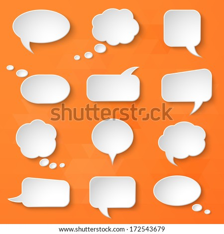 White paper bubbles for speech on an orange background. Universal set 4. Abstract design. Vector illustration. - stock vector