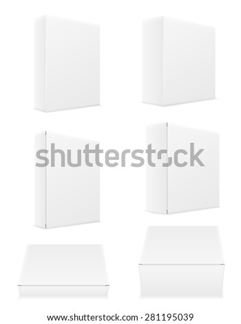 white paper carton box packing set icons vector illustration isolated on background
