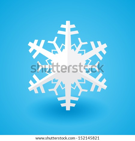 White paper christmas snowflake on a blue background with shadow - stock vector