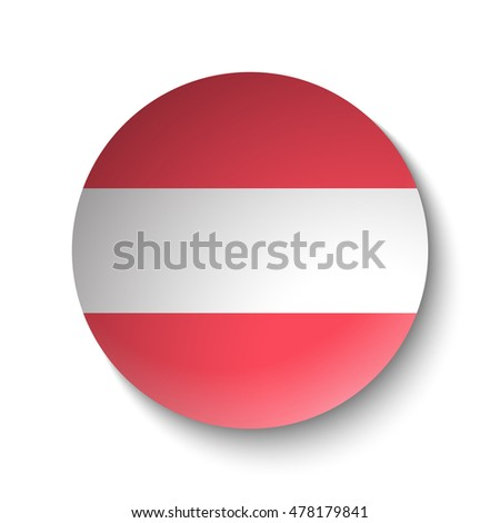 White paper circle with flag of Austria. Abstract illustration