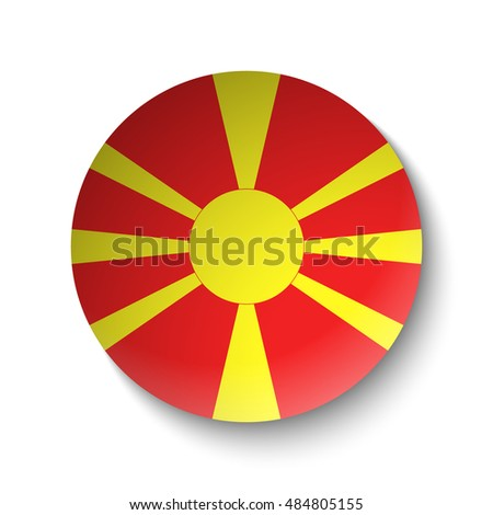 White paper circle with flag of Macedonia. Abstract illustration