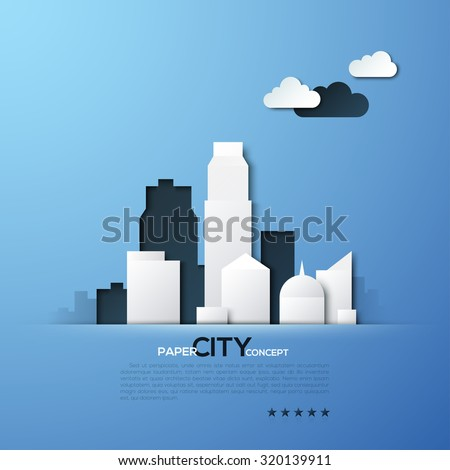White paper city concept vector illustration. Can be used for web design and workflow layout - stock vector