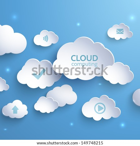 White paper clouds on a blue background. Cloud Computing. Social ...