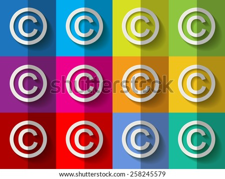 White paper copyright marks on checkered colorful pattern background  - stock vector