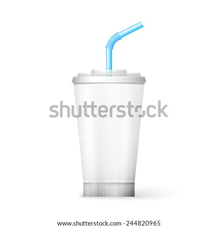 White paper cup template for soda or cold beverage with drinking straw, isolated on white background. Packaging collection. Vector illustration.