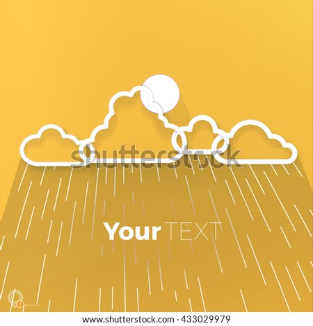 White Paper Cut Origami Cloud Vector Design for Your Rainy Flyer - stock vector