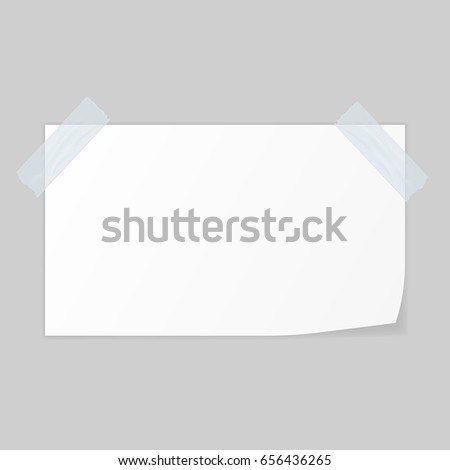 White paper fastened with adhesive tape on gray background. Vector illustration