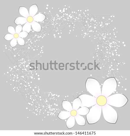 White Paper Flower Card Design Background - stock vector
