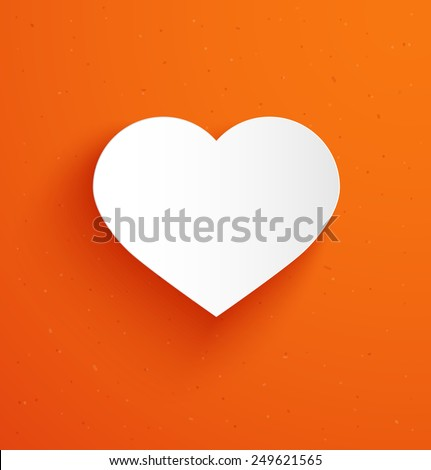 White paper heart icon with shadow on orange background. Vector illustration - stock vector