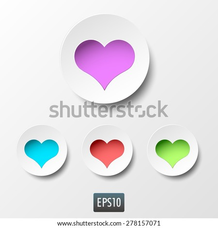 White paper heart icons with inside light on white background. Vector illustration - stock vector