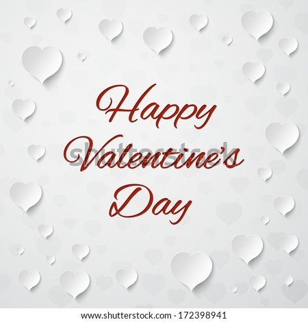 White paper hearts on white background. Valentines day greeting card. Vector illustration - stock vector