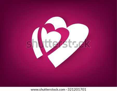 White paper hearts Valentines day card on pink background - stock vector
