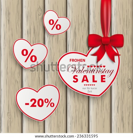 "White paper hearts with red ribbon on the white background. German text ""Frohen Valentinstag, nur fuer kurze Zeit"", translate ""Happy Valentines Day, limited Time Offer"". Eps 10 vector file. - stock vector"