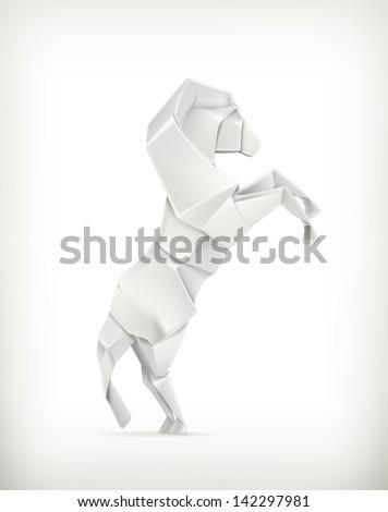 White paper horse, vector origami - stock vector