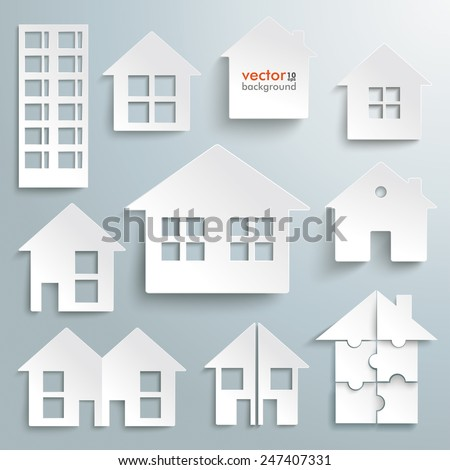 White paper houses set on the gray background. Eps 10 vector file. - stock vector