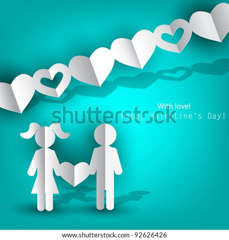 White  paper Men and Woman with heart on blue background. Vector illustration - stock vector